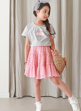 """<font color=#4bb999>* JKIDS 2017 S / S *</font> <br>ソフトクリーム上下SET <br> <font color=""""#9f9f9f"""">♡Tシャツ+スカートのセット♡ <br>最愛のチュチュスカート!</font>"""