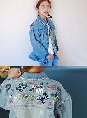 ポッピング刺繍デニムジャケット